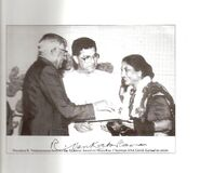 Dr.Maya Rao being awarded the Akademi Award by President R.Venkataraman