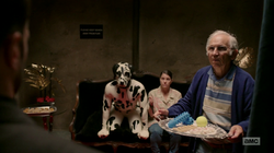 Jesse, Cassidy, and Tulip presented with options for a sex act with a man in a dalmatian costume.png
