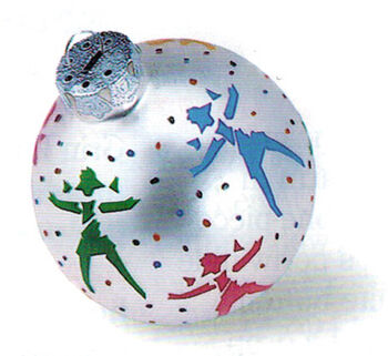 Silvery ornament ball with American Girl of Today logo and confetti style dots in red, blue, and green.