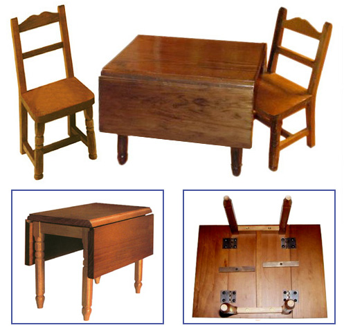 Drop-Leaf Wooden Table