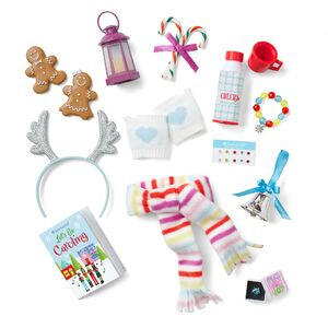 Contents of the Twelve Days of Cheer Countdown Set. Contains candy canes, mittens, caroling book, insulated container, lantern, gingerbread cookies, scarf, stick-on earrings, ring in box, ornament, bracelet, and headband.