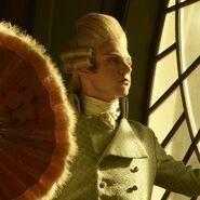 Promotional Evan Peters as Edward Mott with a fan