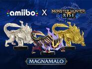 Imagen promocional de los amiibo de Magnamalo - Serie Monster Hunter