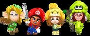Imagen promocional de compatibilidad con amiibo en Miitopia (Nintendo Switch)