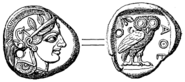 Tetradrachma fran Aten (omkr 490 fKr, ur Nordisk familjebok)