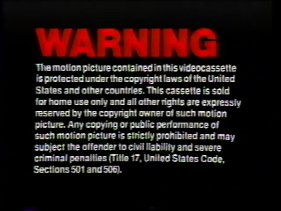MCA/Universal Studios Home Entertainment Warning Screens