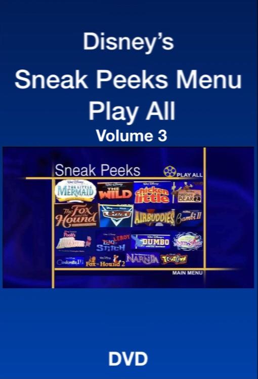 Sneak Peeks Menu Play All Volume 3 (2006 DVD/VHS)
