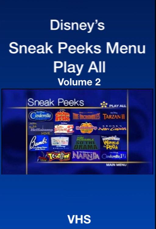 Sneak Peeks Menu Play All Volume 2 (2005-2006 DVD/VHS)