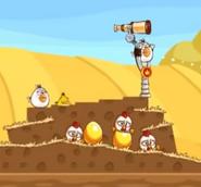 Gallinas en la resortera Angry Birds Friends