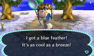 Caught blue feather