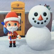 A freshly created snowperson from the cartoon video game Animal Crossing New Horizons