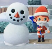 A snowperson in a cartoon video game with the bottom portion being slightly melted