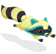 Raccoon art yellow leap