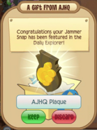 Receiving AJHQ Plaque