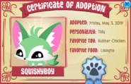 Unrare Pet Fennec Fox Certificate