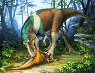 Gorgosaurus feeding on a young Corythosaurus