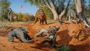 Artwork of Australian Megafauna in their ecosystem