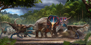 Illustration of Nanotyrannus and Triceratops fight