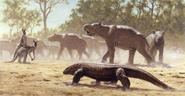 Megalania stalking a herd of Diprotodon art