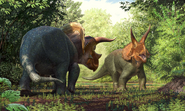 Art reconstruction of Larry the Triceratops