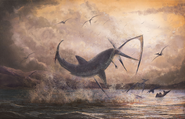 Artwork of Cretoxyrhina attacking a Pteranodon