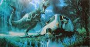 Jurassic Park T-rex attacking a car concept art