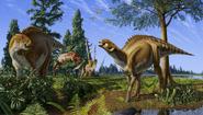 Illustration of Brachylophosaurus senses danger