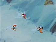 Warner Sibs on a snowboards