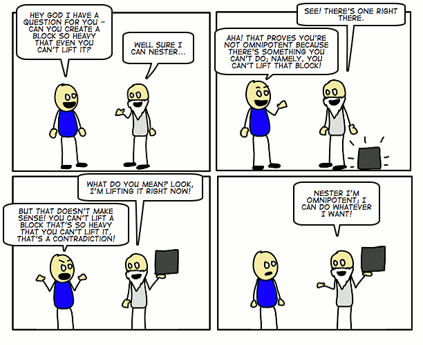 Манипуляция логикой на примере парадокса всемогущества.