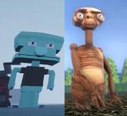 Blocky Squidward and E.T.