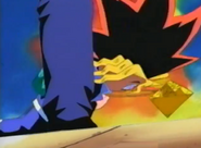 Yugi fells to his kness grabing his arms around his stomach3