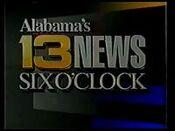 WVTM Alabama's 13 News 6PM open - 1990