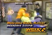 WCIX Channel 6 - Welcome Back, Kotter - Beginning Monday promo for April 1, 1985