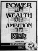 WNEW Channel 5 - Rituals - Premieres Tonight promo for September 10, 1984