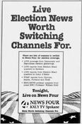 KXLY News 4 - Election Night Coverage - Tonight promo for November 6, 1984