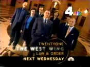 NBC Network - The West Wing - Next Wednesday promo with WNBC-TV New York id bug - Mid-Late January 2000