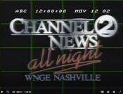 WNGE Channel 2 News - All Night ident - Fall 1982