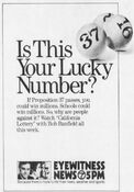 KABC Channel 7 Eyewitness News 5PM - California Lottery - This Week promo for the week of October 22, 1984