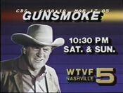 WTVF Channel 5 - Gunsmoke - Saturdays & Sundays ident - Fall 1984