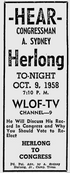 WLOF Channel 9 - Herlong To Congress - Tonight promo for October 9, 1958