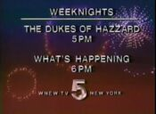 WNEW Channel 5 - 'The Dukes Of Hazzard' & 'What's Happening' - Weeknights promo - Late Spring 1985