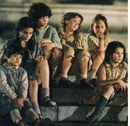 Orphans on steps
