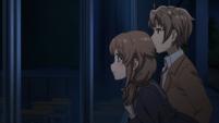Azusagawa siblings look in a classroom