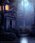 Elven Town night version by SnowSkadi