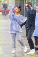 Ariana and friends under the rain in NY September 18 (2)