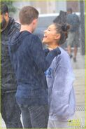 Ariana and friends under the rain in NY September 18 (1)