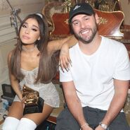 Ariana Grande holding a Grammy, and Scooter Braun