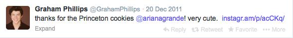 Graham tweeting Ariana