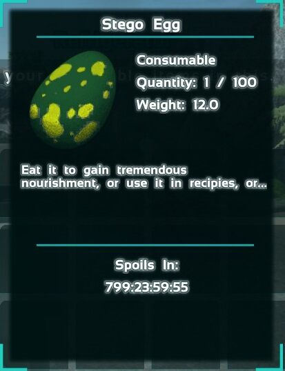 "A Stegosaurus egg in a refrigerator. This ""Spoils in ..."" text is the largest possible value, due to the fractions of a second required (even on the lowest cheat timescale) to place into the container."