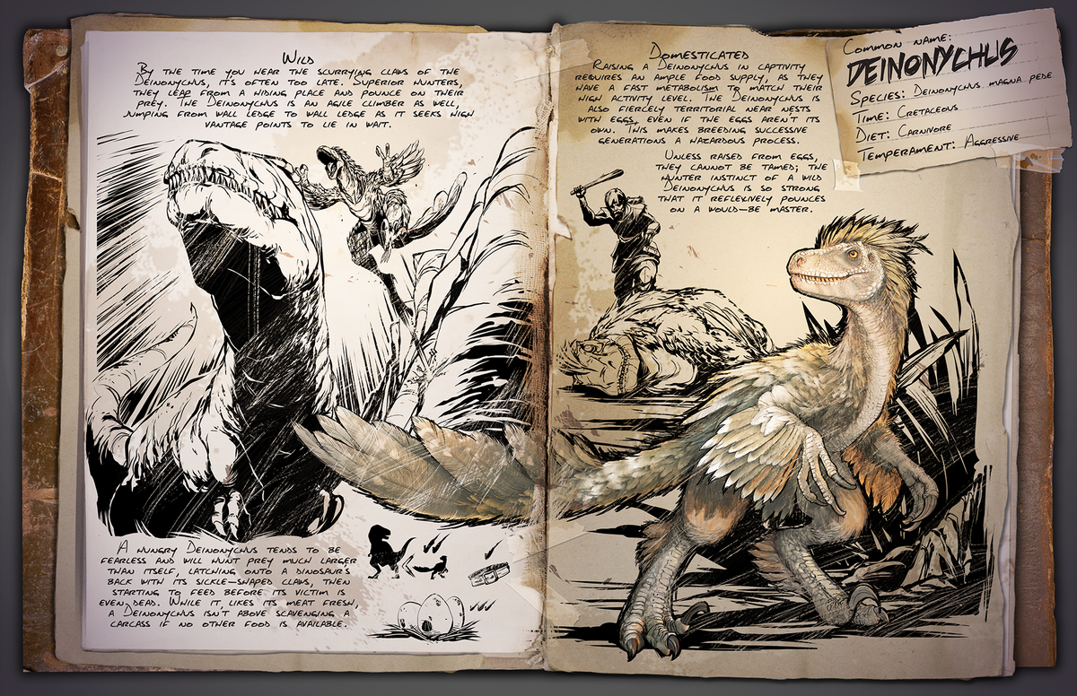Deinonychus Official Ark Survival Evolved Wiki It has a massive head and long jaws with fearsome tusk like front teeth for tearing both meat and plant matter and rows of molars at the back of the mouth for grinding. ark survival evolved wiki
